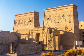 Philae temple in aswan on the Nile in Egypt
