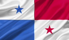Panama Flag Waving With The Wind, 3D Illustration.
