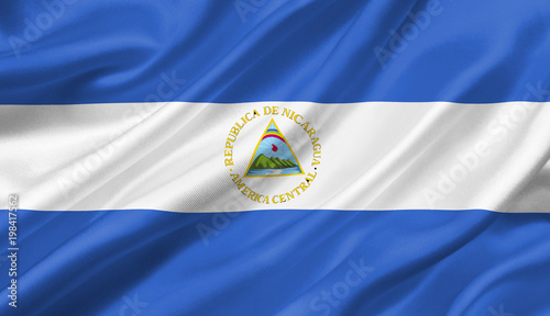Nicaragua flag waving with the wind, 3D illustration. Wallpaper Mural