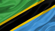 Tanzania flag waving with the wind, 3D illustration.