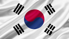 South Korea Flag Waving With The Wind, 3D Illustration.