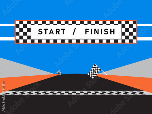 Fotografía  Finish line and checkered flag of race car event in a racetrack with a blue background