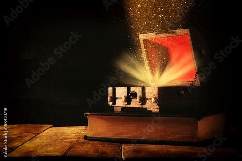 Image of mysterious treasure chest with glitter light and smoke over old book on wooden table Canvas Print