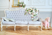 Sofa With Gray Upholstery, Pil...