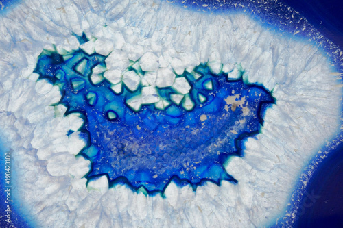 Poster Crystals Blue agate macro. Blue agate crystal texture.agate background.Stone agate texture . Natural stone agate background.