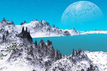 Fototapeta Alien Planet. Mountain and water. 3D rendering