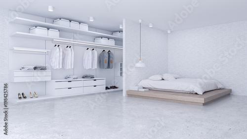 Modern Loft of bedroom and dressing room interior ,walk in closet ...