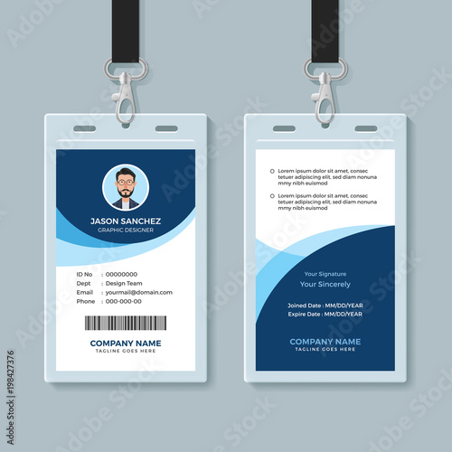 simple and clean employee id card design template buy this stock
