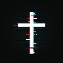 Christian Cross In Glitch, Tv,...