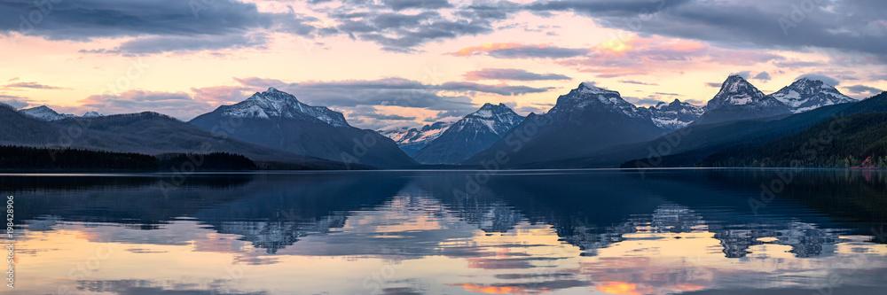 Fototapety, obrazy: Lake McDonald in Glacier National Park, Montana, USA at sunset
