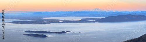 Aerial view from the San Juan Islands with Mount Baker on the horizon, Washington, USA