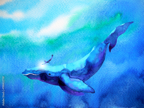 Photo  human and whale diving swimming underwater together watercolor painting illustra