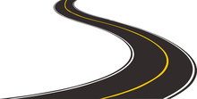 Curved Road With Yellow Lines. Vector Illustration. Road Isolated On White Background