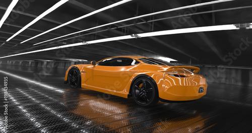 Luksusowy pomarańczowy koncepcja samochód sportowy 3d render. Refleksje dookoła.