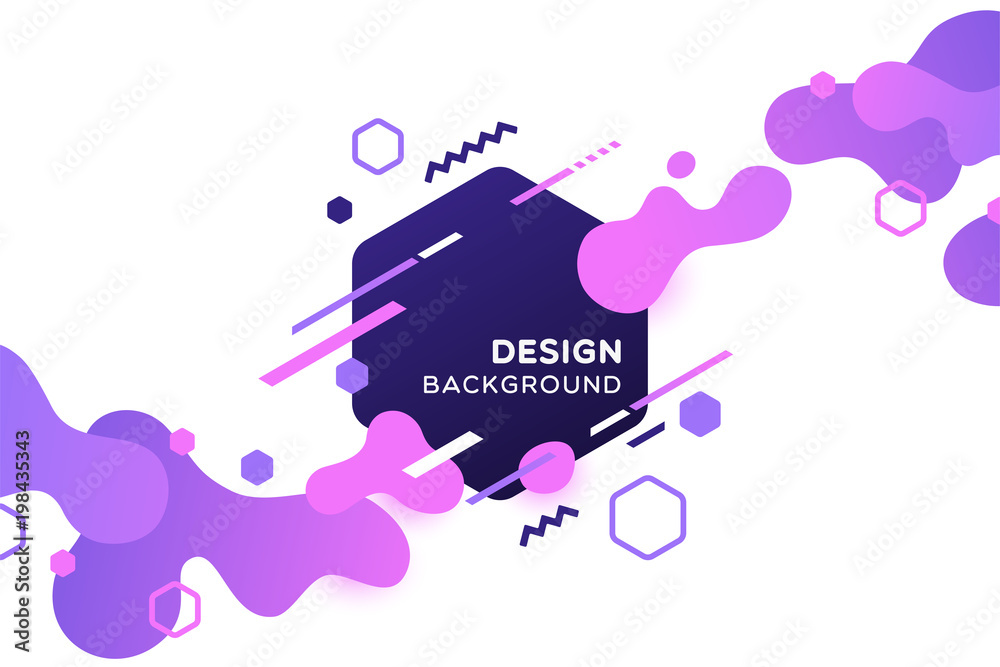 Fototapeta Trendy concept abstract geometric design, memphis background. Applicable for placards, brochures, posters, covers and banners. Vector illustration.