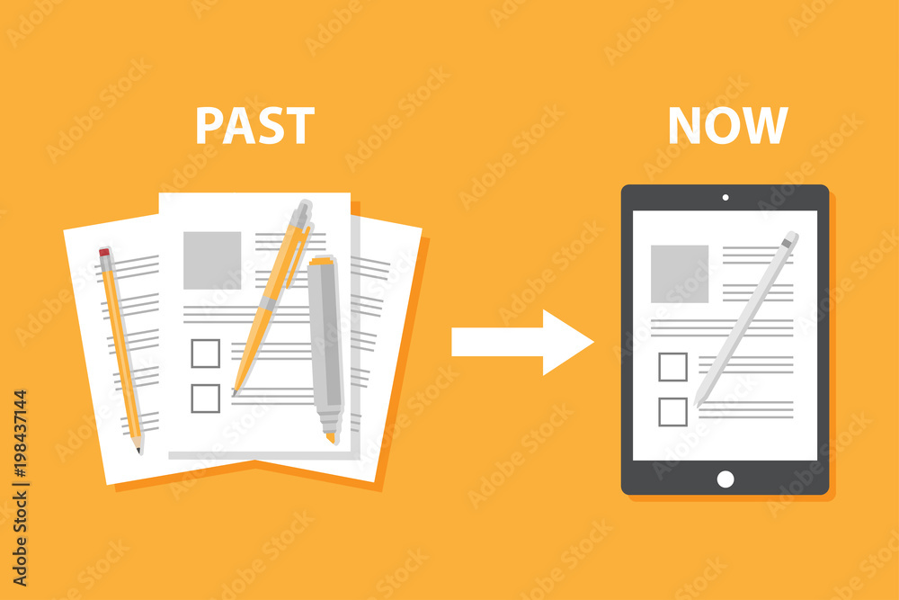 Fototapeta Evolution of devices from paper to smart gadget, innovation digital concept document pass to tablet screen display, future technology device, icon, symbol, object, pen, flat style cartoon vector