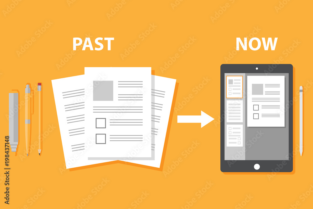 Evolution of devices from paper to smart gadget, innovation digital concept document pass to tablet screen display, future technology device, icon, symbol, object, paperless, flat style cartoon vector
