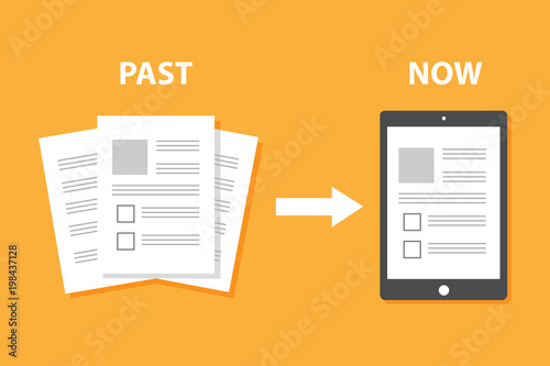 Fototapety, obrazy: Evolution of devices from paper to smart gadget, innovation digital concept document pass to tablet screen display, future technology device, icon, symbol, object, paperless, flat style cartoon vector