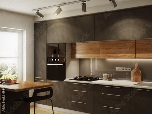 Fototapeta New modern kitchen interior obraz
