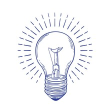 Glowing Incandescent Light Bulb Hand Drawn With Blue Contour Lines On White Background. Monochrome Drawing Of Electric Lamp. Symbol Of Inspiring Idea, Discovery Or Solution. Vector Illustration.