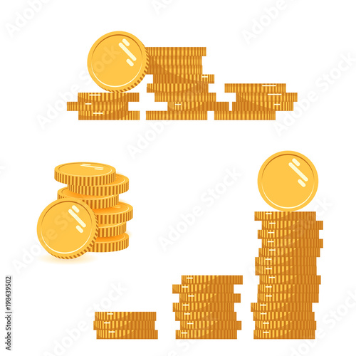 Cuadros en Lienzo Coins stack set vector illustration, icon flat finance heap, dollar coin pile