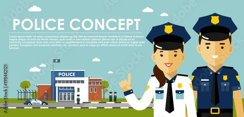 Fotografía  Police concept with cops in flat style