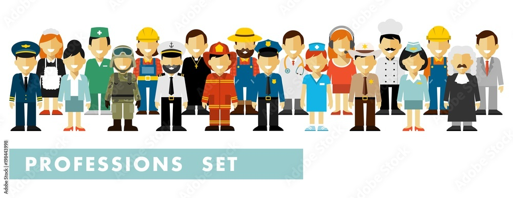 Fototapeta People occupation characters set in flat style isolated on white background. Different people professions characters stand in a row