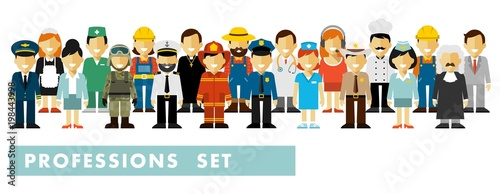 Fotografía  People occupation characters set in flat style isolated on white background