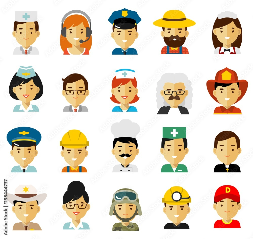 Fototapeta People occupation characters avatars set in flat style isolated on white background. Different people professions characters icons. Workers and businessmans.