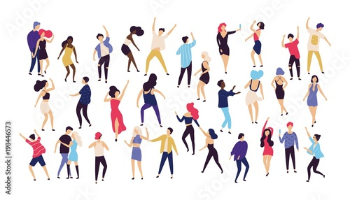 Crowd of young men and women dressed in trendy clothes dancing at club or music concert. Large group of male and female cartoon characters having fun at party. Flat colorful vector illustration. - 198446573