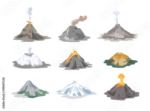 Obraz na plátně  Collection of inactive and active volcanoes erupting and emitting smoke, ash clouds and lava isolated on white background