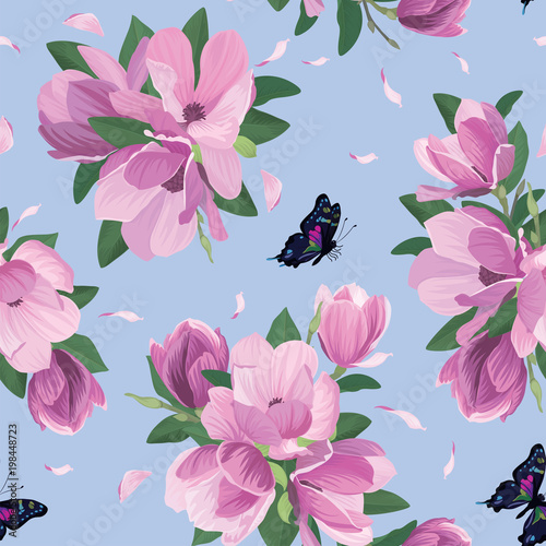 Seamless pattern with magnolia flowers and butterfly on blue