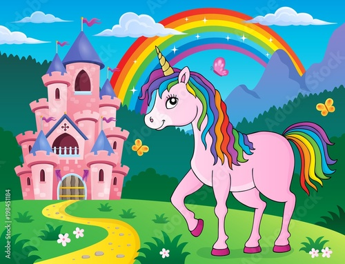 Wall Murals For Kids Happy unicorn topic image 2