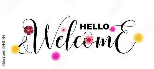 Photo  Hello and Welcome calligraphic letters isolated on white, vector illustration