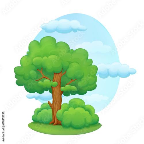 Drzewo kreskówka z krzewów