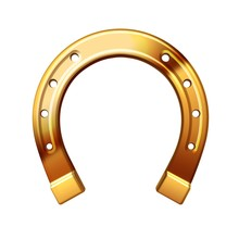 Golden Horseshoe On A White Background