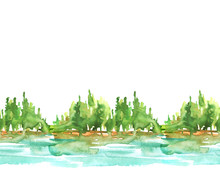 Seamless Watercolor Linear Pa...