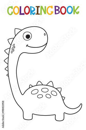 In de dag Cartoon draw Cute Dino coloring book. Vector illustration