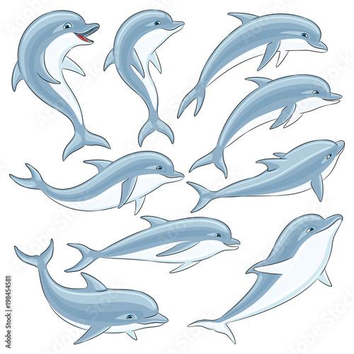 Fototapeta premium Zestaw niebieskich delfinów na białym tle.