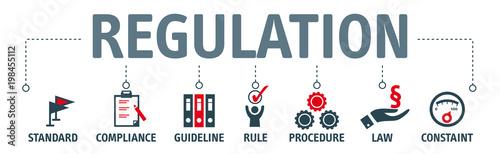 Cuadros en Lienzo Banner Regulation Compliance Rules Law Standard vector illustration concept