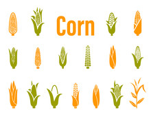 Corn Icons. Vector Illustratio...