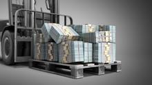 Stack Of Dollar Money Bills On Wooden Pallet With A Forklift Loader 3d Render On A Grey Background