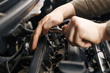 Professional mechanic checking car engine
