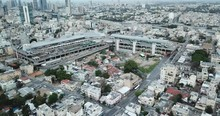 Central Bus Station In Tel Aviv Flat Log 4k Drone Aerial Footage