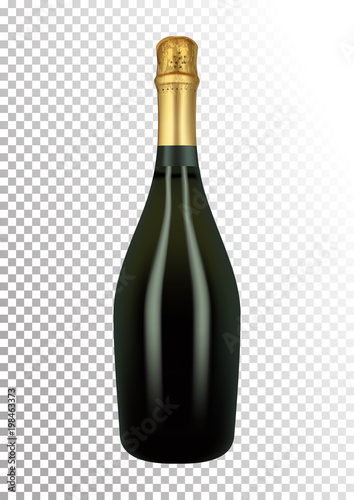 Valokuva  Vector illustration of a bottle of champagne or sparkling wine in photorealistic style