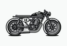 Monochrome Cafe Racer Motorcyc...