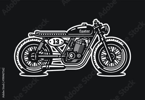 Foto Monochrome cafe racer motorcycle. Vintage style. Custom bike.