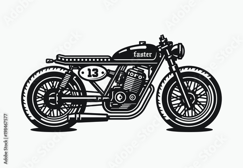 Photo Monochrome cafe racer motorcycle. Vintage style. Custom bike.