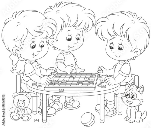 Fotografia, Obraz  Little children playing checkers, a black and white vector illustration in a car