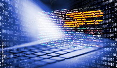 Tastatur mit Programmiercode und Binärcode Obraz na płótnie